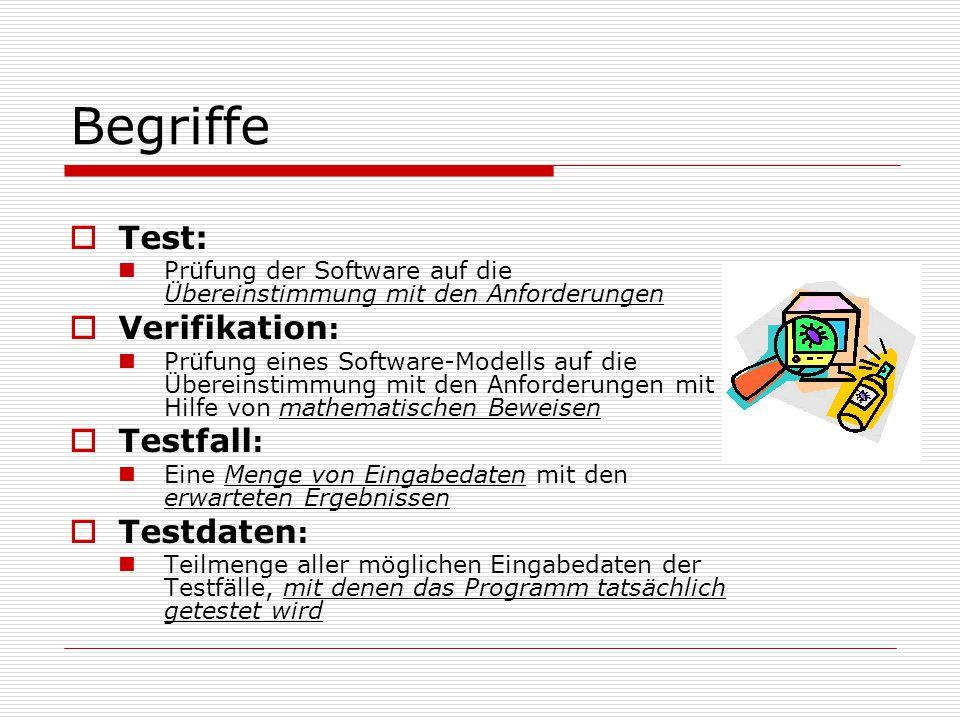 Begriffe  Test: Prüfung der Software auf die Übereinstimmung mit den Anforderungen  Verifikation : Prüfung eines Software-Modells auf die Übereinstimmung mit den Anforderungen mit Hilfe von mathematischen Beweisen  Testfall : Eine Menge von Eingabedaten mit den erwarteten Ergebnissen  Testdaten : Teilmenge aller möglichen Eingabedaten der Testfälle, mit denen das Programm tatsächlich getestet wird