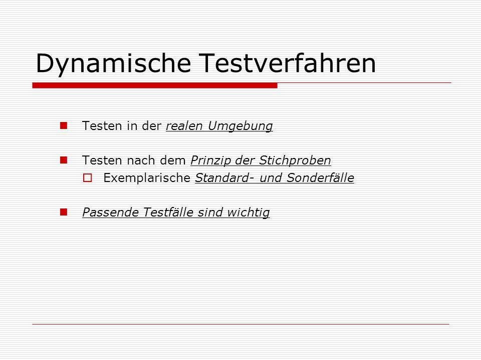 Dynamische Testverfahren Testen in der realen Umgebung Testen nach dem Prinzip der Stichproben  Exemplarische Standard- und Sonderfälle Passende Testfälle sind wichtig