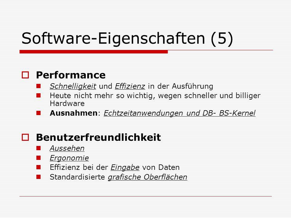 Software-Eigenschaften (5)  Performance Schnelligkeit und Effizienz in der Ausführung Heute nicht mehr so wichtig, wegen schneller und billiger Hardware Ausnahmen: Echtzeitanwendungen und DB- BS-Kernel  Benutzerfreundlichkeit Aussehen Ergonomie Effizienz bei der Eingabe von Daten Standardisierte grafische Oberflächen