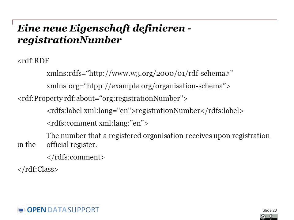 Eine neue Eigenschaft definieren - registrationNumber <rdf:RDF xmlns:rdfs=   xmlns:org= htpp://example.org/organisation-schema > registrationNumber The number that a registered organisation receives upon registration in the official register.