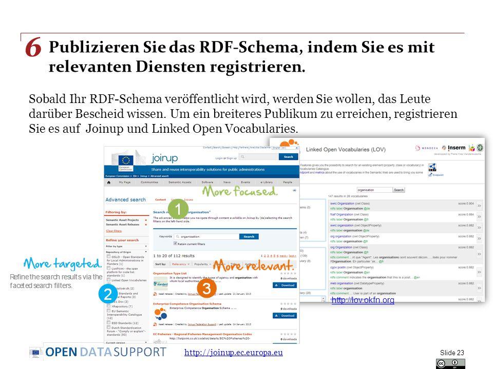 Publizieren Sie das RDF-Schema, indem Sie es mit relevanten Diensten registrieren. Sobald Ihr RDF-Schema veröffentlicht wird, werden Sie wollen, das L