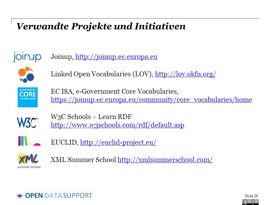 Verwandte Projekte und Initiativen Joinup,   Linked Open Vocabularies (LOV),   EC ISA, e-Government Core Vocabularies,     W3C Schools – Learn RDF     EUCLID,   XML Summer School   Slide 29