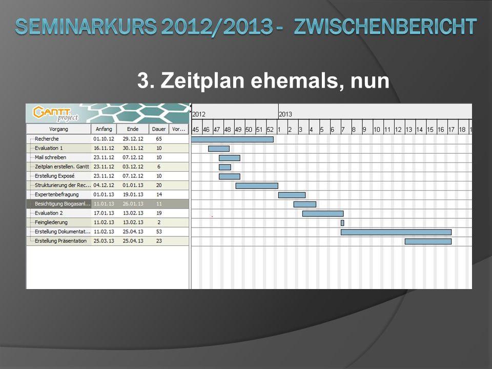 3. Zeitplan ehemals, nun