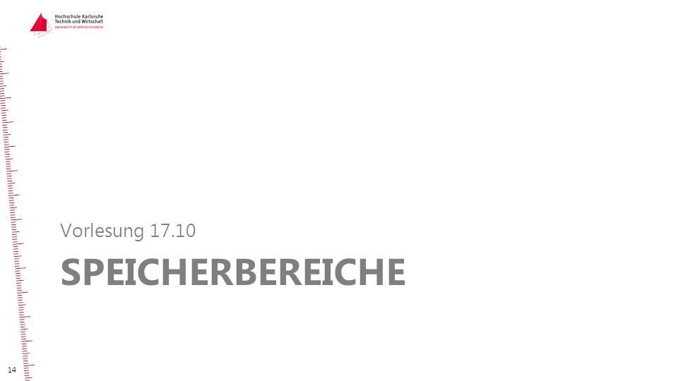 SPEICHERBEREICHE Vorlesung 17.10 14