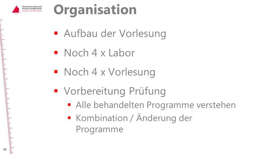 Organisation  Aufbau der Vorlesung  Noch 4 x Labor  Noch 4 x Vorlesung  Vorbereitung Prüfung  Alle behandelten Programme verstehen  Kombination