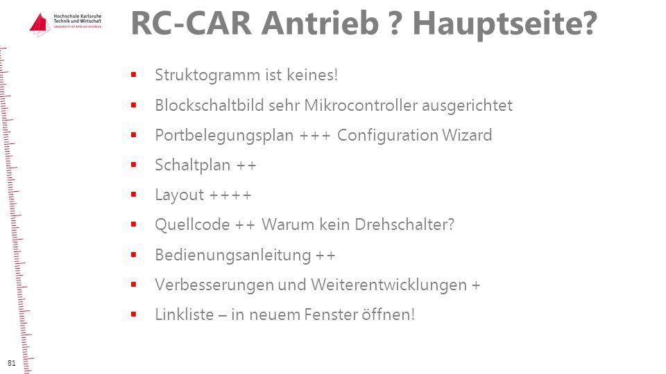 RC-CAR Antrieb ? Hauptseite?  Struktogramm ist keines!  Blockschaltbild sehr Mikrocontroller ausgerichtet  Portbelegungsplan +++ Configuration Wiza