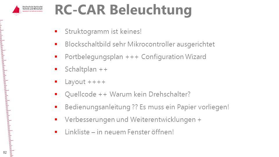 RC-CAR Beleuchtung  Struktogramm ist keines!  Blockschaltbild sehr Mikrocontroller ausgerichtet  Portbelegungsplan +++ Configuration Wizard  Schal