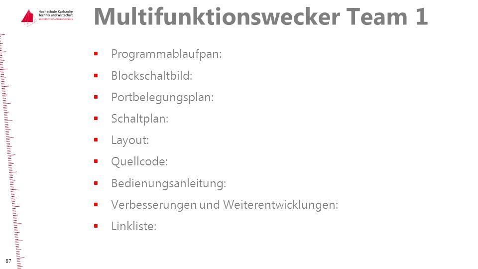 Multifunktionswecker Team 1  Programmablaufpan:  Blockschaltbild:  Portbelegungsplan:  Schaltplan:  Layout:  Quellcode:  Bedienungsanleitung: 