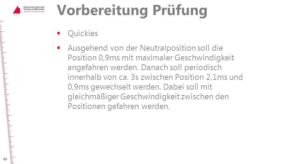 Vorbereitung Prüfung  Quickies  Ausgehend von der Neutralposition soll die Position 0,9ms mit maximaler Geschwindigkeit angefahren werden. Danach so