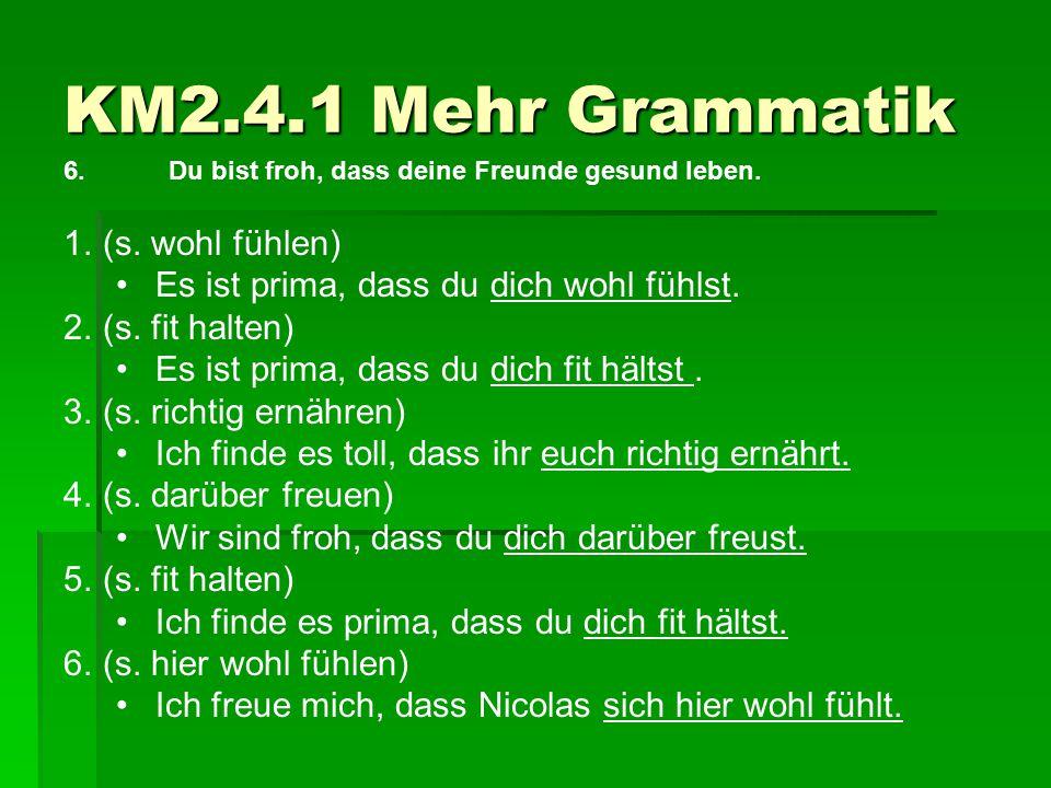 KM2.4.1 Mehr Grammatik 6.Du bist froh, dass deine Freunde gesund leben. 1.(s. wohl fühlen) Es ist prima, dass du dich wohl fühlst. 2.(s. fit halten) E