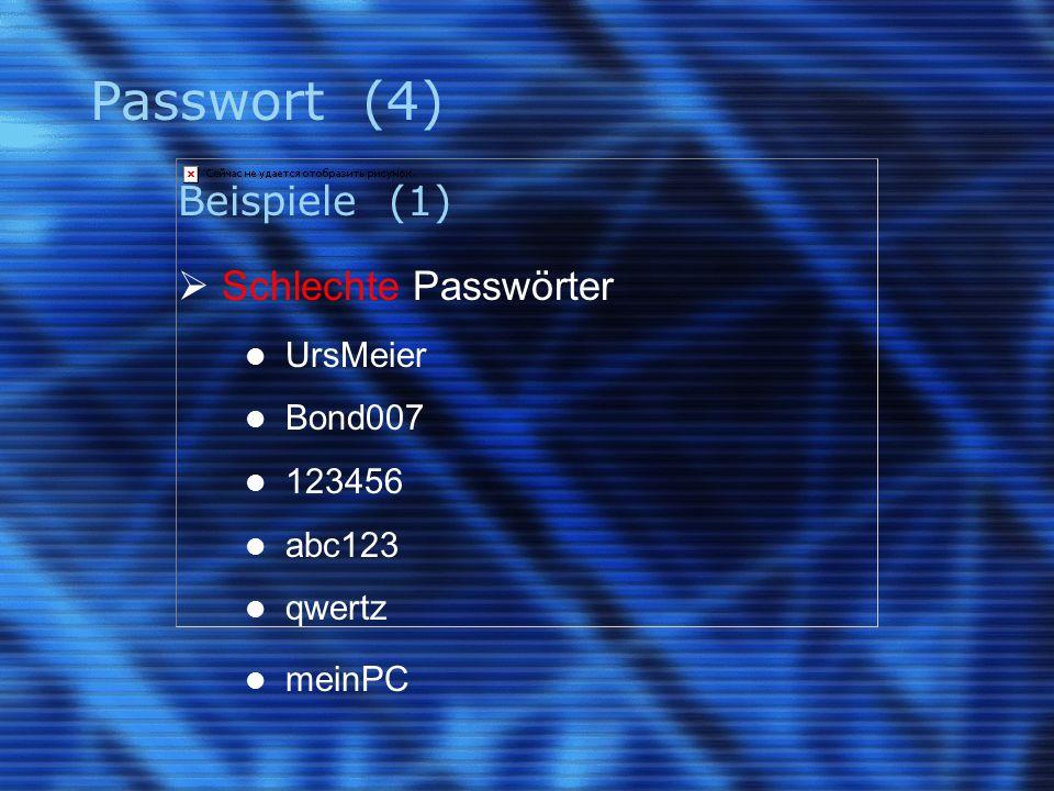 Passwort (4) Beispiele (1)  Schlechte Passwörter UrsMeier Bond007 123456 abc123 qwertz meinPC