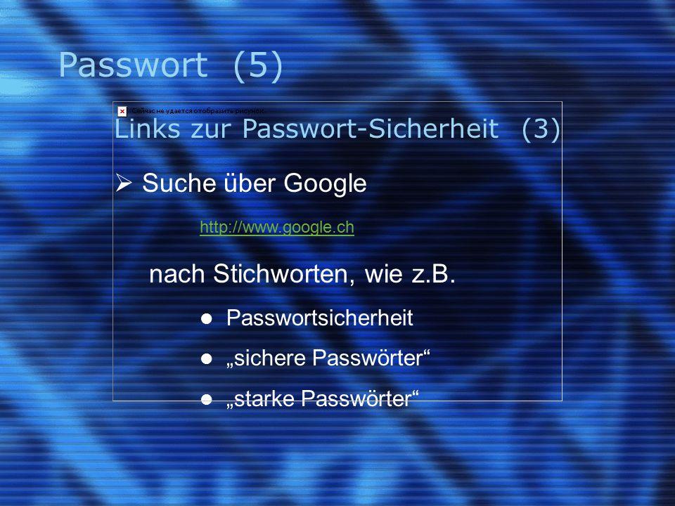 Passwort (5) Links zur Passwort-Sicherheit (3)  Suche über Google http://www.google.ch nach Stichworten, wie z.B.