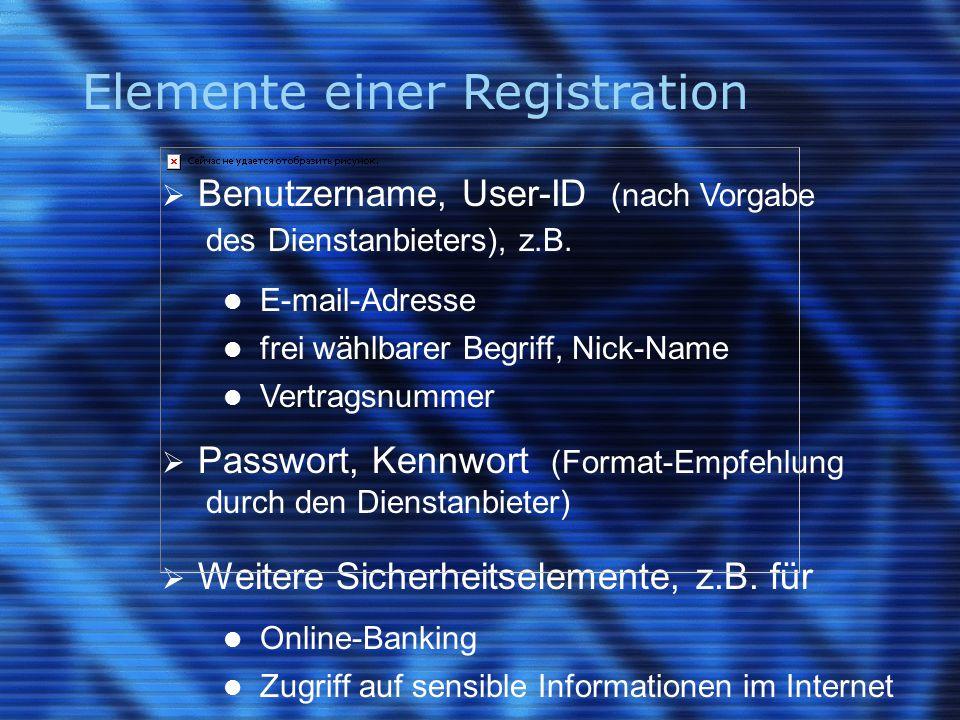 Elemente einer Registration  Benutzername, User-ID (nach Vorgabe des Dienstanbieters), z.B.
