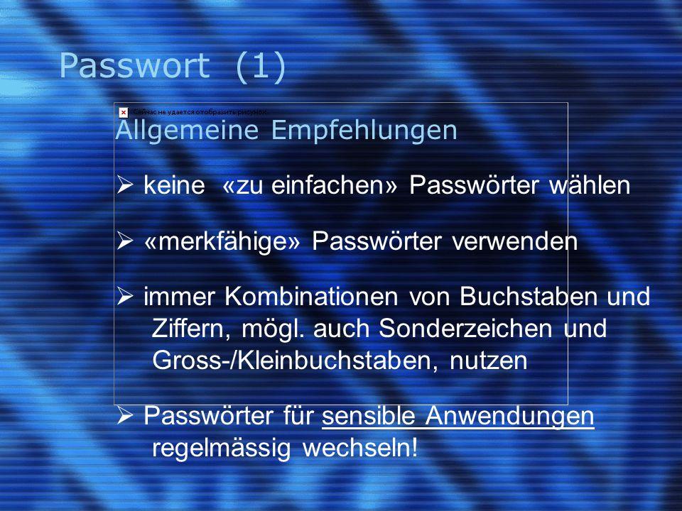 Passwort (1) Allgemeine Empfehlungen  keine «zu einfachen» Passwörter wählen  «merkfähige» Passwörter verwenden  immer Kombinationen von Buchstaben und Ziffern, mögl.