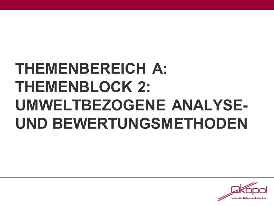 A2: Umweltbezogene Analyse- und Bewertungsmethoden - Ökobilanz -