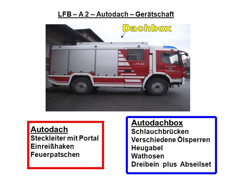 LFB – A2 - Geräteraum 7 - Gerätschaft Tragkraftspritze - FOX 500 m B – Schläuche Saugschlauch – A 4 x Ölbindemittel 4 Kanister