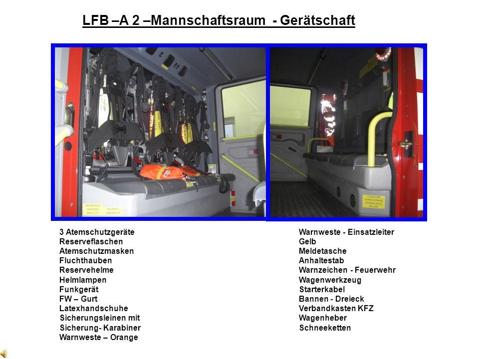 Geräteraum – Farbschema Geräteraum: außen = Markierung - ROT Geräteraum: aufgeklappt = Markierung - GELB Geräteraum: innen = Markierung - BLAU Viel Sp