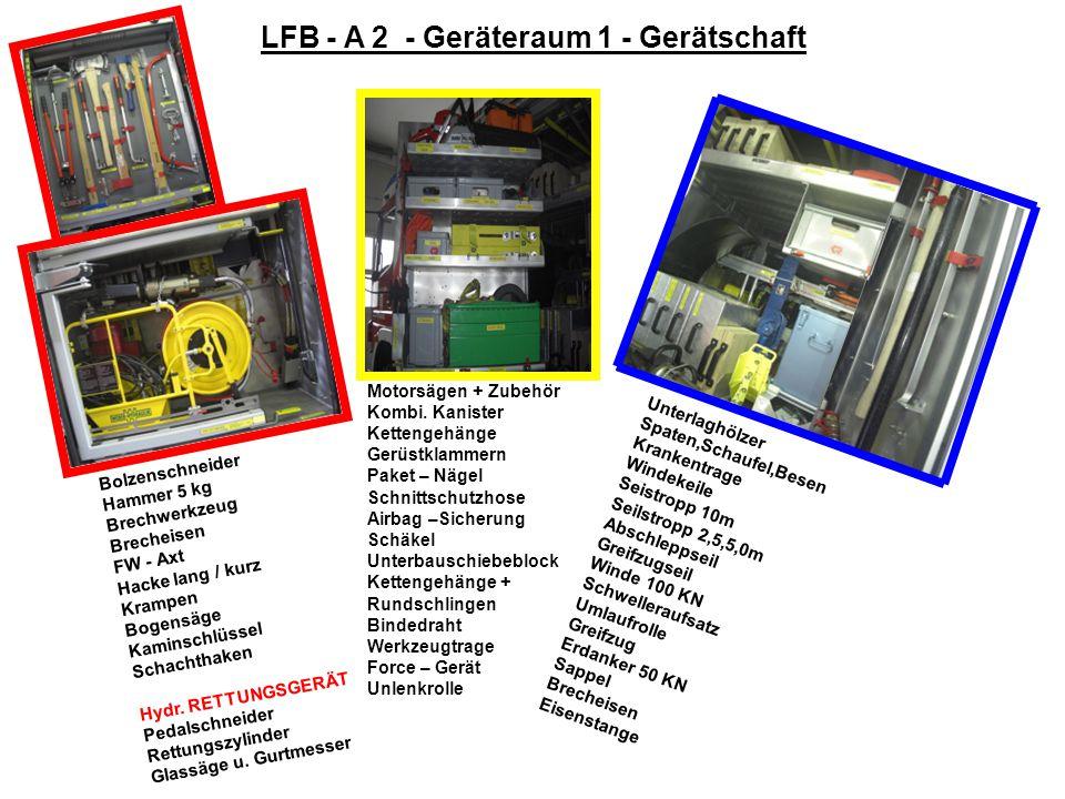 LFB –A 2 –Mannschaftsraum - Gerätschaft 3 AtemschutzgeräteWarnweste - Einsatzleiter ReserveflaschenGelb AtemschutzmaskenMeldetasche FluchthaubenAnhalt