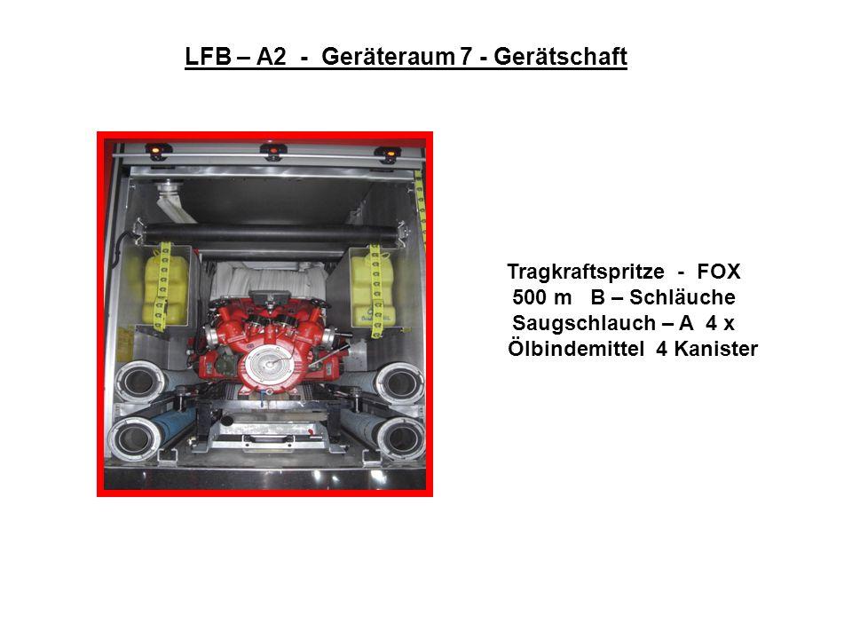 LFB – A2 - Geräteraum 6 - Gerätschaft 6 x B – Schläuche Schaumrohr S 2 Löscher CO 2 Löscher P 12 Nasslöscher Zumischer Z 2 Schaumrohr M 2 Löschdecke D