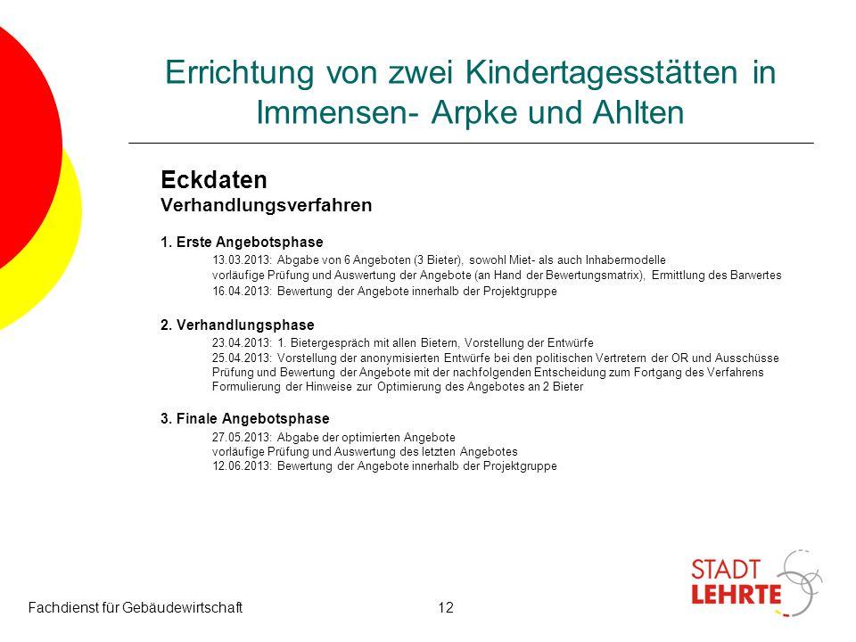 Fachdienst für Gebäudewirtschaft12 Errichtung von zwei Kindertagesstätten in Immensen- Arpke und Ahlten Eckdaten Verhandlungsverfahren 1. Erste Angebo