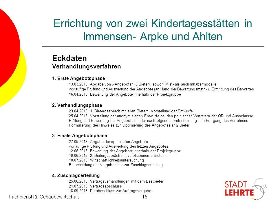 Fachdienst für Gebäudewirtschaft15 Errichtung von zwei Kindertagesstätten in Immensen- Arpke und Ahlten Eckdaten Verhandlungsverfahren 1. Erste Angebo