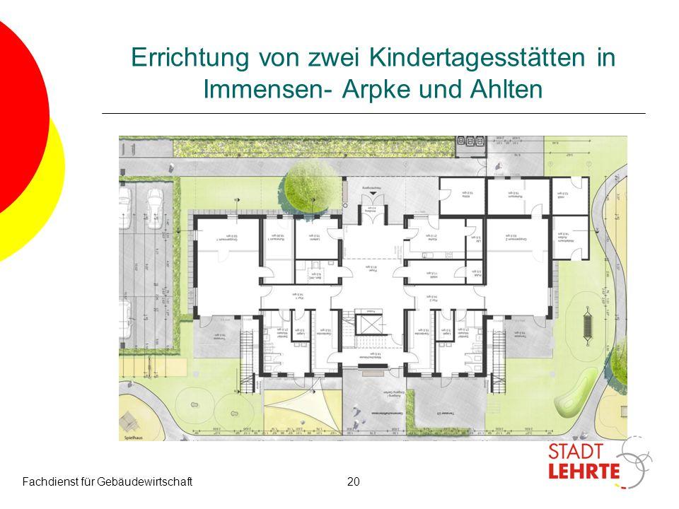 Fachdienst für Gebäudewirtschaft20 Errichtung von zwei Kindertagesstätten in Immensen- Arpke und Ahlten