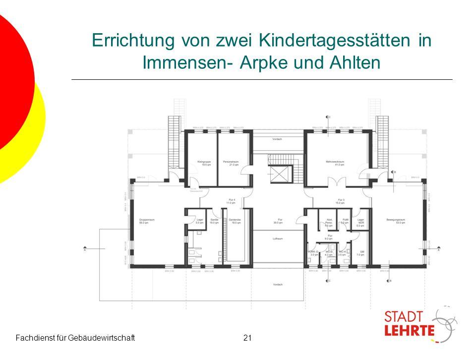 Fachdienst für Gebäudewirtschaft21 Errichtung von zwei Kindertagesstätten in Immensen- Arpke und Ahlten