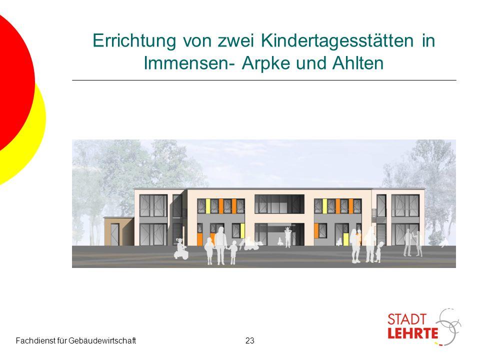 Fachdienst für Gebäudewirtschaft23 Errichtung von zwei Kindertagesstätten in Immensen- Arpke und Ahlten