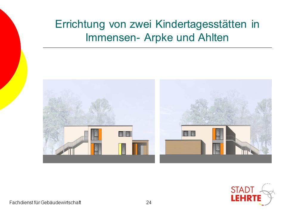 Fachdienst für Gebäudewirtschaft24 Errichtung von zwei Kindertagesstätten in Immensen- Arpke und Ahlten