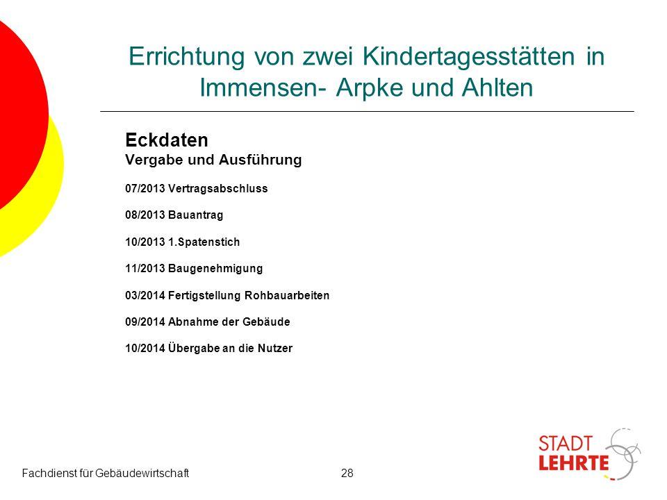 Fachdienst für Gebäudewirtschaft28 Errichtung von zwei Kindertagesstätten in Immensen- Arpke und Ahlten Eckdaten Vergabe und Ausführung 07/2013 Vertra