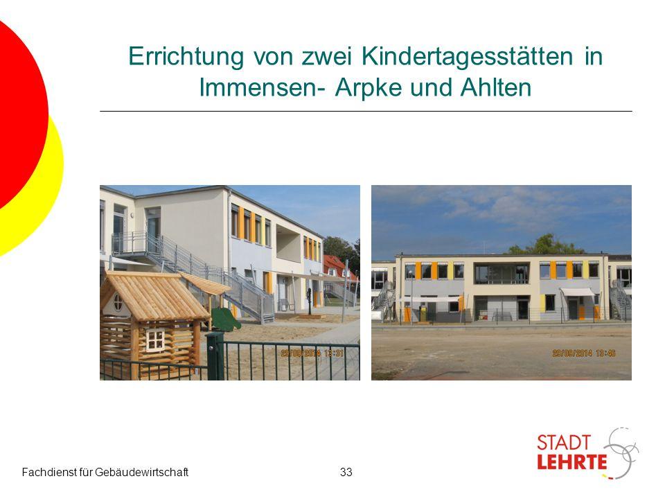 Errichtung von zwei Kindertagesstätten in Immensen- Arpke und Ahlten Fachdienst für Gebäudewirtschaft33