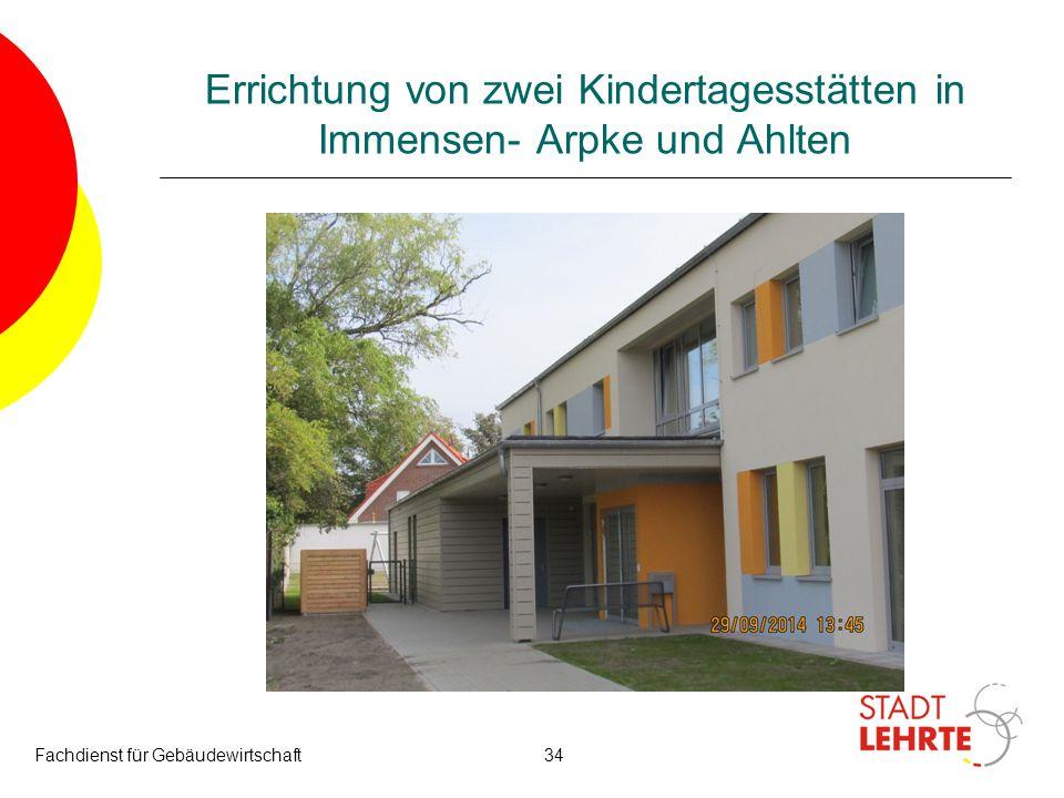 Errichtung von zwei Kindertagesstätten in Immensen- Arpke und Ahlten Fachdienst für Gebäudewirtschaft34