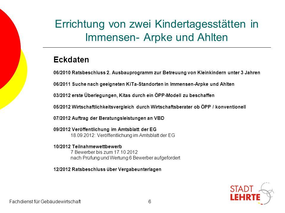 Fachdienst für Gebäudewirtschaft7 Errichtung von zwei Kindertagesstätten in Immensen- Arpke und Ahlten Eckdaten Verhandlungsverfahren 1.
