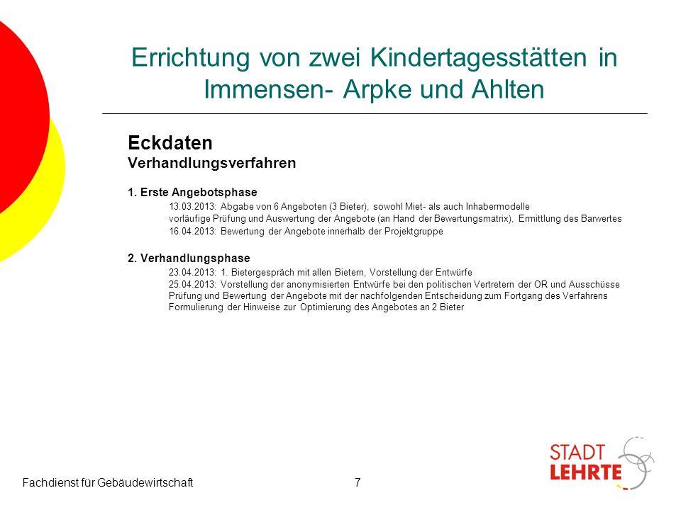 Fachdienst für Gebäudewirtschaft7 Errichtung von zwei Kindertagesstätten in Immensen- Arpke und Ahlten Eckdaten Verhandlungsverfahren 1. Erste Angebot