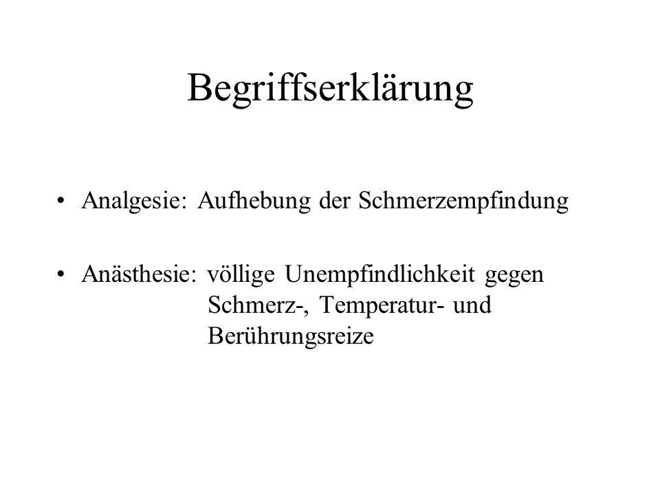 Begriffserklärung Analgesie: Aufhebung der Schmerzempfindung Anästhesie: völlige Unempfindlichkeit gegen Schmerz-, Temperatur- und Berührungsreize