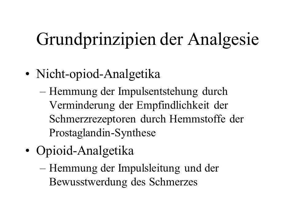 Grundprinzipien der Analgesie Nicht-opiod-Analgetika –Hemmung der Impulsentstehung durch Verminderung der Empfindlichkeit der Schmerzrezeptoren durch Hemmstoffe der Prostaglandin-Synthese Opioid-Analgetika –Hemmung der Impulsleitung und der Bewusstwerdung des Schmerzes
