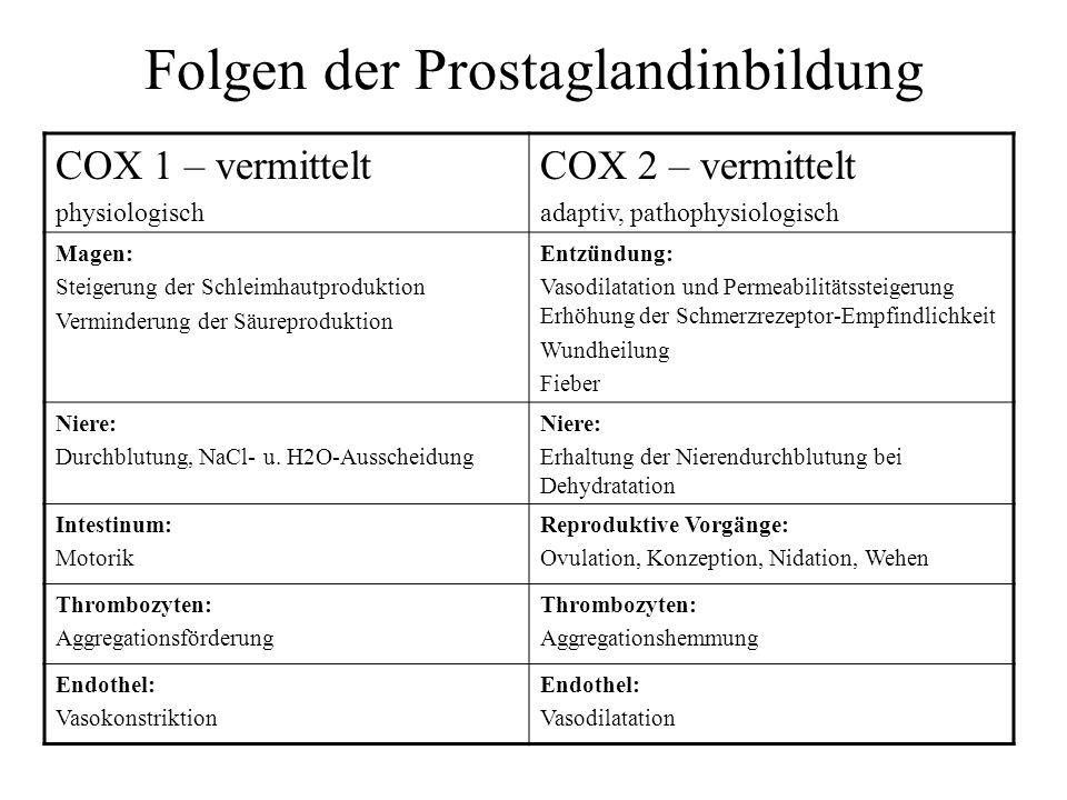 Folgen der Prostaglandinbildung COX 1 – vermittelt physiologisch COX 2 – vermittelt adaptiv, pathophysiologisch Magen: Steigerung der Schleimhautproduktion Verminderung der Säureproduktion Entzündung: Vasodilatation und Permeabilitätssteigerung Erhöhung der Schmerzrezeptor-Empfindlichkeit Wundheilung Fieber Niere: Durchblutung, NaCl- u.