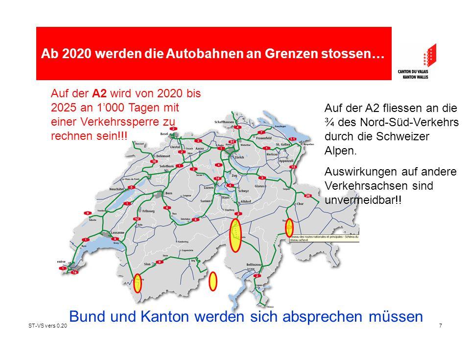 ST-VS vers 0.207 Auf der A2 wird von 2020 bis 2025 an 1'000 Tagen mit einer Verkehrssperre zu rechnen sein!!! Auf der A2 fliessen an die ¾ des Nord-Sü