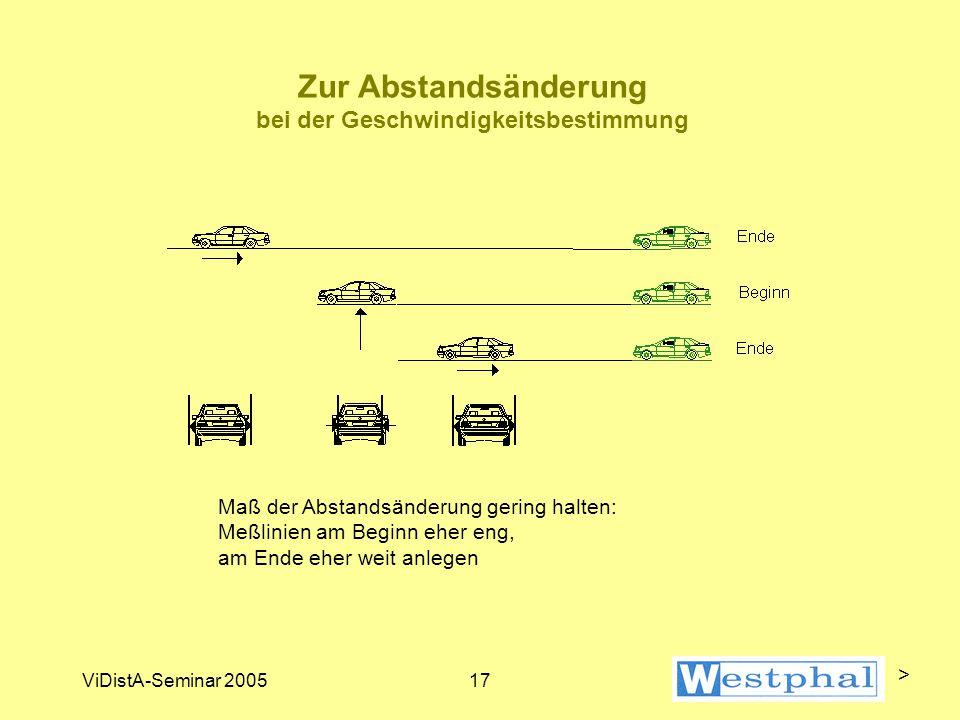 ViDistA-Seminar 200517 Zur Abstandsänderung bei der Geschwindigkeitsbestimmung Maß der Abstandsänderung gering halten: Meßlinien am Beginn eher eng, am Ende eher weit anlegen >