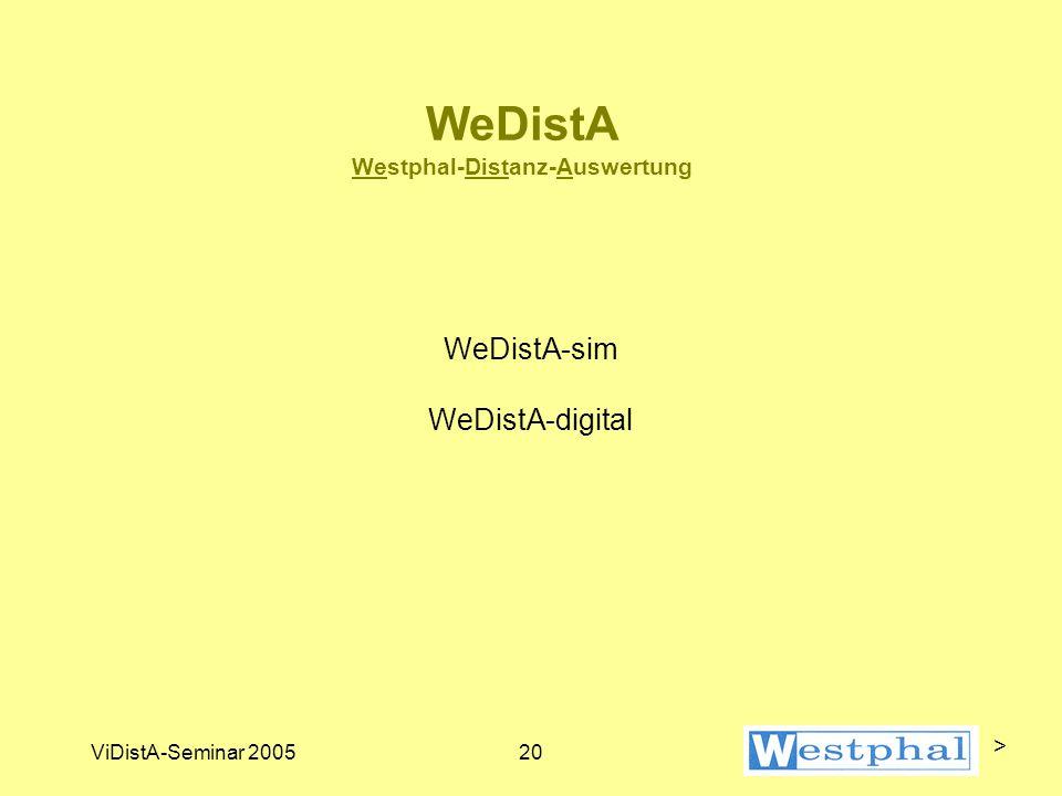 ViDistA-Seminar 200520 WeDistA Westphal-Distanz-Auswertung WeDistA-sim WeDistA-digital >