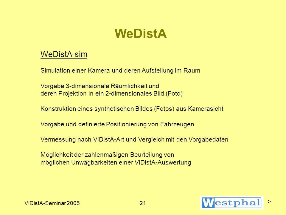 ViDistA-Seminar 200521 WeDistA WeDistA-sim Simulation einer Kamera und deren Aufstellung im Raum Vorgabe 3-dimensionale Räumlichkeit und deren Projektion in ein 2-dimensionales Bild (Foto) Konstruktion eines synthetischen Bildes (Fotos) aus Kamerasicht Vorgabe und definierte Positionierung von Fahrzeugen Vermessung nach ViDistA-Art und Vergleich mit den Vorgabedaten Möglichkeit der zahlenmäßigen Beurteilung von möglichen Unwägbarkeiten einer ViDistA-Auswertung >