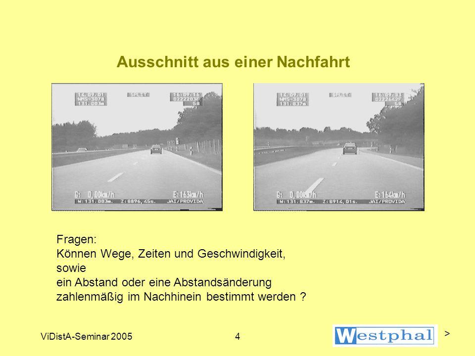 ViDistA-Seminar 20054 Ausschnitt aus einer Nachfahrt Fragen: Können Wege, Zeiten und Geschwindigkeit, sowie ein Abstand oder eine Abstandsänderung zahlenmäßig im Nachhinein bestimmt werden .