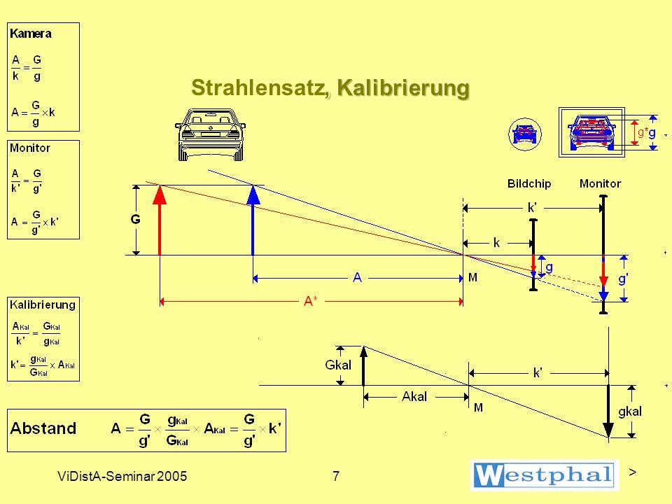 ViDistA-Seminar 20058 Vorgehensweise (1) Vorgänge: Kalibrieraufnahmen und Meßaufnahmen fertigen mit dem gleichen System Kamera/Objektiv(brennweite) Reihenfolge im Prinzip beliebig Auswertung: > Kalibrierung durchführen k' bestimmen: Formel > Meßaufnahmen auswerten Abstand berechnen: Formel >