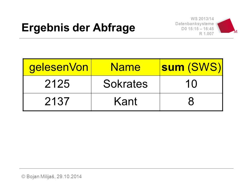 WS 2013/14 Datenbanksysteme D0 15:15 – 16:45 R 1.007 © Bojan Milijaš, 29.10.2014 Ergebnis der Abfrage gelesenVonNamesum (SWS) 2125Sokrates10 2137Kant8