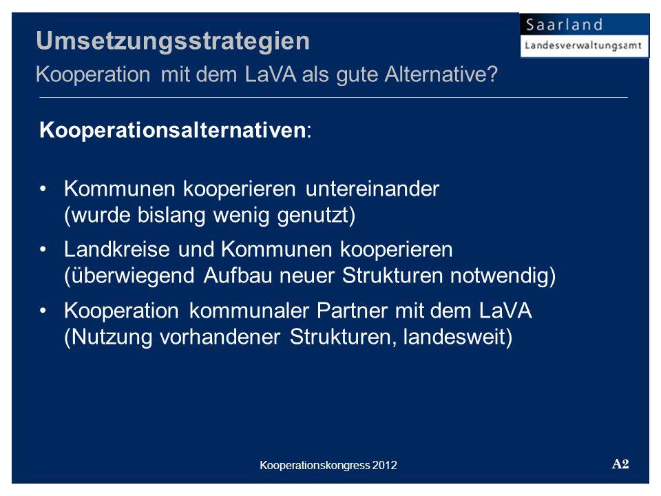 Kooperationsalternativen: Kommunen kooperieren untereinander (wurde bislang wenig genutzt) Landkreise und Kommunen kooperieren (überwiegend Aufbau neuer Strukturen notwendig) Kooperation kommunaler Partner mit dem LaVA (Nutzung vorhandener Strukturen, landesweit) Umsetzungsstrategien Kooperation mit dem LaVA als gute Alternative.