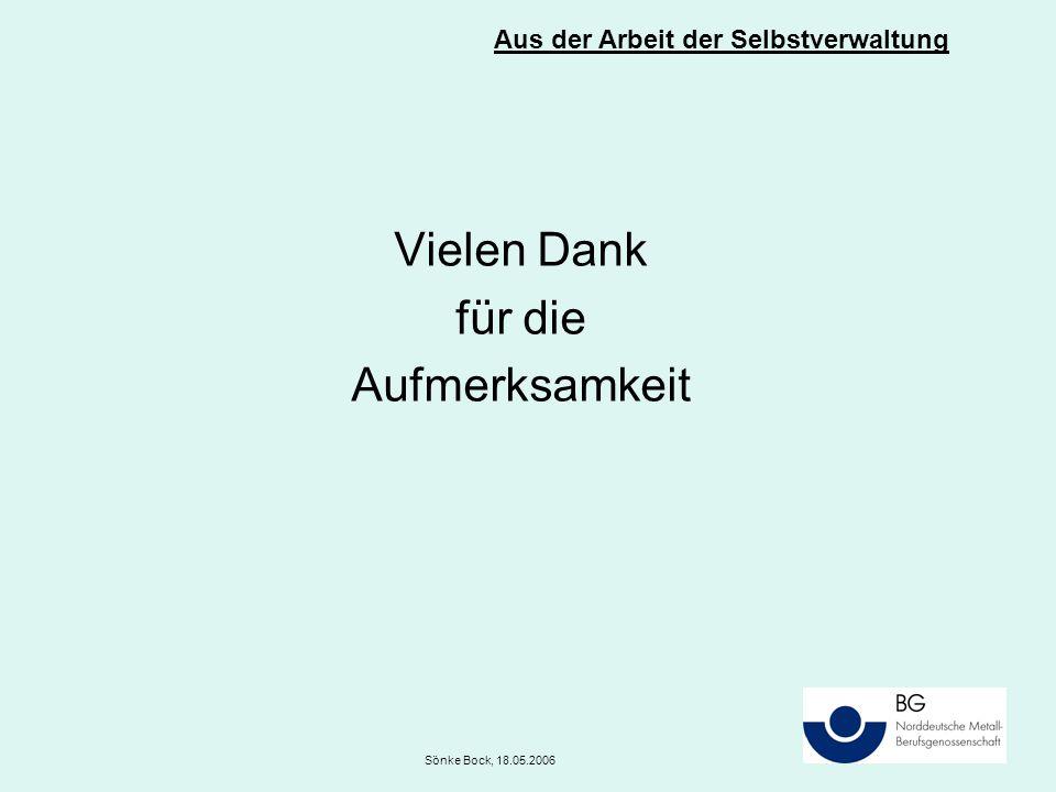 Vielen Dank für die Aufmerksamkeit Aus der Arbeit der Selbstverwaltung Sönke Bock, 18.05.2006