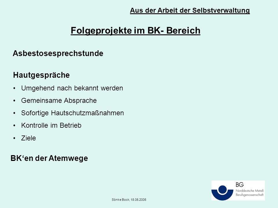 Aus der Arbeit der Selbstverwaltung Sönke Bock, 18.05.2006 Folgeprojekte im BK- Bereich Asbestosesprechstunde Hautgespräche Umgehend nach bekannt werden Gemeinsame Absprache Sofortige Hautschutzmaßnahmen Kontrolle im Betrieb Ziele BK'en der Atemwege