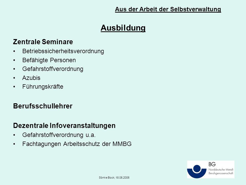 Ausbildung Zentrale Seminare Betriebssicherheitsverordnung Befähigte Personen Gefahrstoffverordnung Azubis Führungskräfte Berufsschullehrer Dezentrale