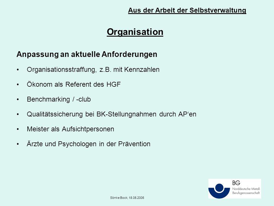 Organisation Anpassung an aktuelle Anforderungen Organisationsstraffung, z.B. mit Kennzahlen Ökonom als Referent des HGF Benchmarking / -club Qualität