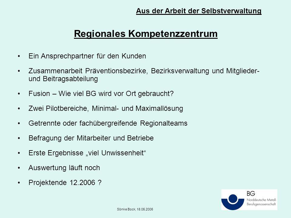 Regionales Kompetenzzentrum Ein Ansprechpartner für den Kunden Zusammenarbeit Präventionsbezirke, Bezirksverwaltung und Mitglieder- und Beitragsabteilung Fusion – Wie viel BG wird vor Ort gebraucht.